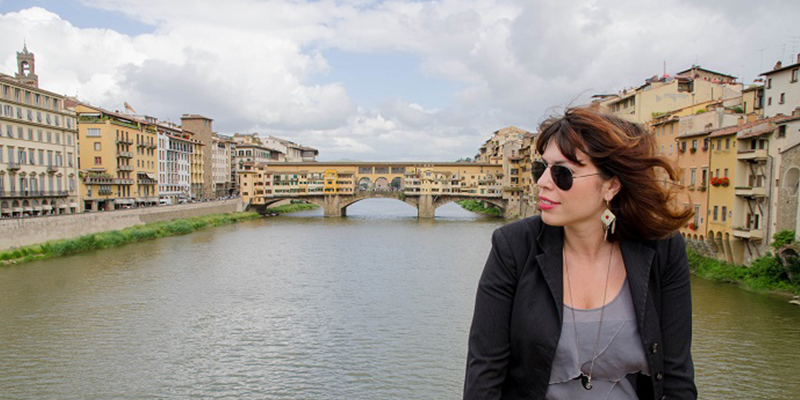 Lady taking in the view in Italy